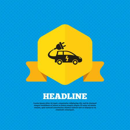 electric vehicle: Auto elettrica icona segno. Simbolo Hatchback. Trasporto del veicolo elettrico. Tag etichetta gialla. Circoli senza soluzione di modello sul retro. Vettore Vettoriali