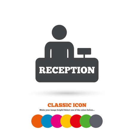 reception table: Reception sign icon. Hotel registration table with administrator symbol. Classic flat icon. Colored circles. Vector