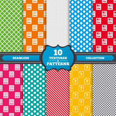 xls: Seamless textures. File document and question icons. XLS, PDF and DOC file symbols. Download or save doc signs. Endless patterns with circles, diagonal lines, chess cell. Vector