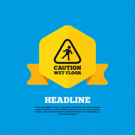wet floor sign: Caution wet floor sign icon. Human falling triangle symbol. Yellow label tag. Circles seamless pattern on back. Vector Illustration