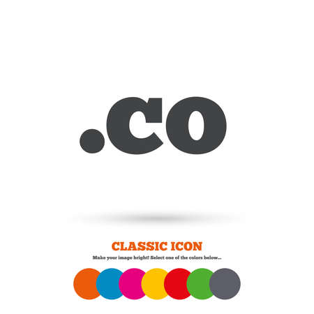 co: Domain CO sign icon. Top-level internet domain symbol. Classic flat icon. Colored circles. Vector Illustration