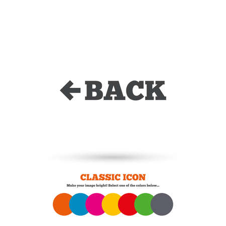 back button: Arrow sign icon. Back button. Navigation symbol. Classic flat icon. Colored circles. Vector Illustration