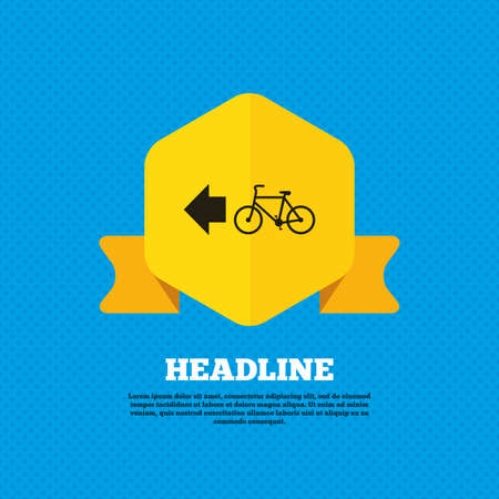 trail sign: Bicycle path trail sign icon. Cycle path. Left arrow symbol. Yellow label tag. Circles seamless pattern on back. Vector