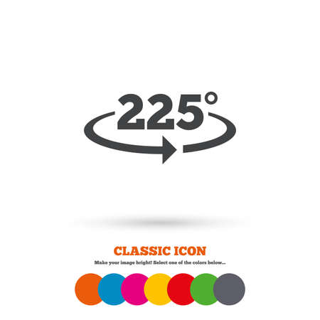 math icon: Angle 225 degrees sign icon. Geometry math symbol. Classic flat icon. Colored circles. Vector
