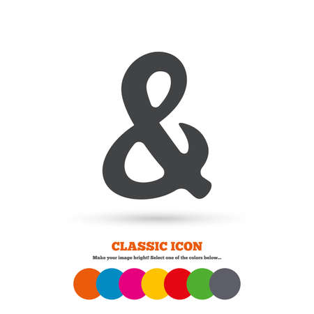 logical: Ampersand rounded sign icon. Programming logical operator AND. Wedding invitation symbol. Classic flat icon. Colored circles. Vector