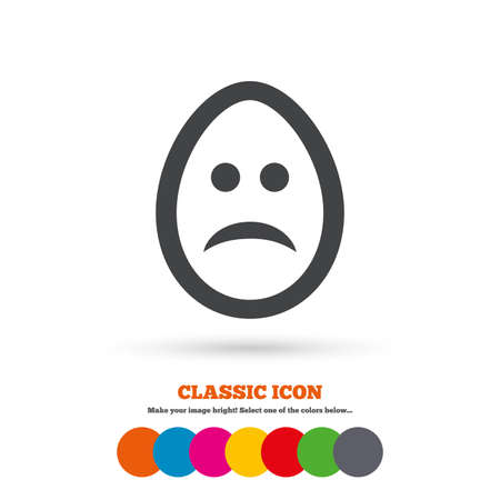 gloom: Sad Easter egg face sign icon. Sadness depression chat symbol. Classic flat icon. Colored circles. Vector