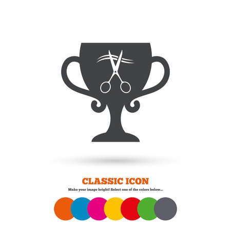 cut hair: Scissors cut hair sign icon. Hairdresser or barbershop symbol. Winner award cup. Classic flat icon. Colored circles. Vector