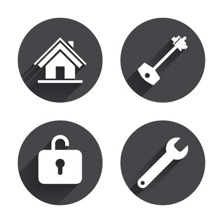page long: Home key icon. Wrench service tool symbol. Locker sign. Main page web navigation. Circles buttons with long flat shadow. Vector