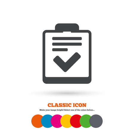 feedback form: Checklist sign icon. Control list symbol. Survey poll or questionnaire feedback form. Classic flat icon. Colored circles. Vector
