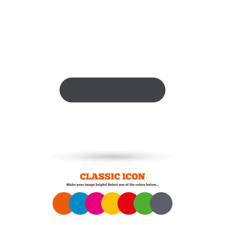 Minus sign icon. Negative symbol. Zoom out. Classic flat icon. Colored circles. Vector