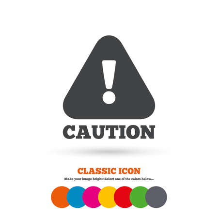 caution sign: Attention caution sign icon. Exclamation mark. Hazard warning symbol. Classic flat icon. Colored circles. Vector