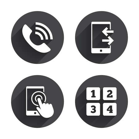 touch screen phone: Phone icons. Touch screen smartphone sign. Call center support symbol. Cellphone keyboard symbol. Incoming and outcoming calls. Circles buttons with long flat shadow. Vector Illustration