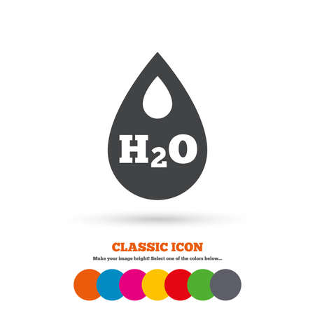 tear drop: H2O Water drop sign icon. Tear symbol. Classic flat icon. Colored circles. Vector