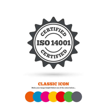 ISO 14001 Certified Sign Icon. Certification Star Stamp. Classic ...
