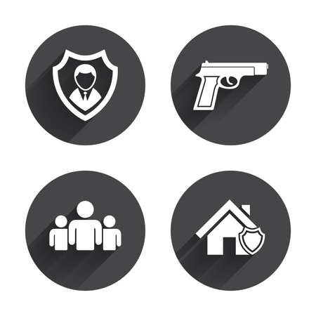 home group: Security agency icons. Home shield protection symbols. Gun weapon sign. Group of people or Share. Circles buttons with long flat shadow. Vector Illustration