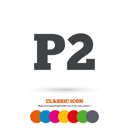 second floor: Parking second floor sign icon. Car parking P2 symbol. Classic flat icon. Colored circles. Vector Illustration