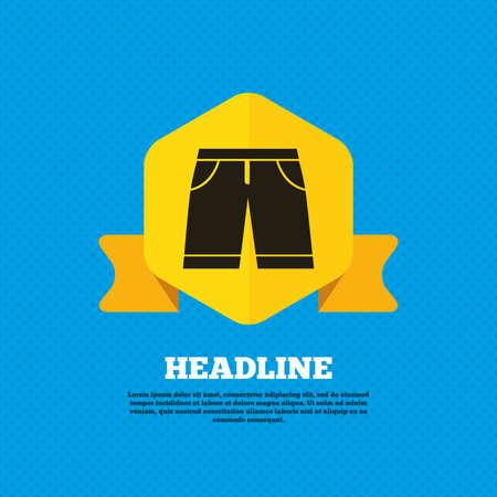 beachwear: Mens Bermuda shorts sign icon. Clothing symbol. Yellow label tag. Circles seamless pattern on back. Vector