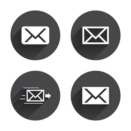 webmail: Mail envelope icons. Message delivery symbol. Post office letter signs. Circles buttons with long flat shadow. Vector