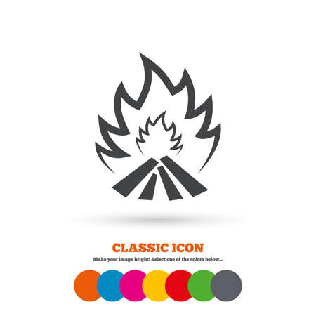 escape: Fire flame sign icon. Heat symbol. Stop fire. Escape from fire. Classic flat icon. Colored circles. Vector