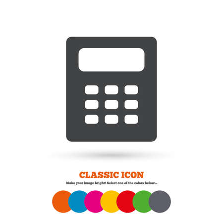 calc: Calculator sign icon. Bookkeeping symbol. Classic flat icon. Colored circles. Vector