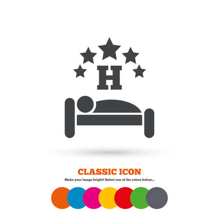sleeper: Five star Hotel apartment sign icon. Travel rest place. Sleeper symbol. Classic flat icon. Colored circles. Vector