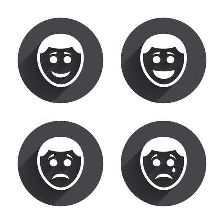 long depression: Human smile face icons. Happy, sad, cry signs. Happy smiley chat symbol. Sadness depression and crying signs. Circles buttons with long flat shadow. Vector