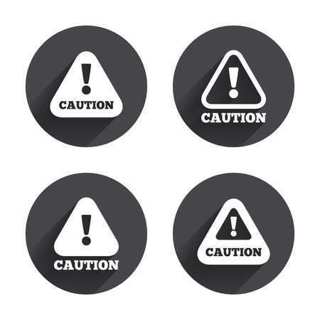 caution sign: Attention caution icons. Hazard warning symbols. Exclamation sign. Circles buttons with long flat shadow. Vector