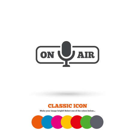 live stream sign: On air sign icon. Live stream symbol. Microphone symbol. Classic flat icon. Colored circles. Vector Illustration