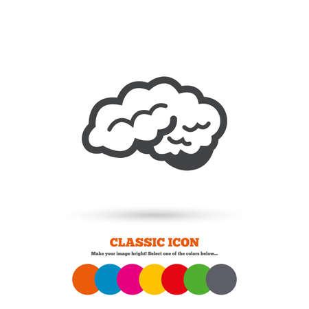 cerebellum: Brain with cerebellum sign icon. Human intelligent smart mind. Classic flat icon. Colored circles. Vector