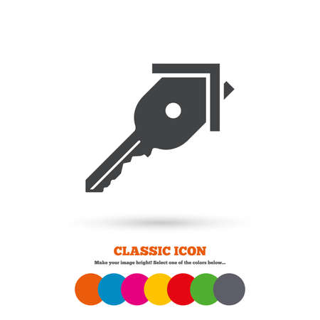home owner: Key from the house sign icon. Unlock tool symbol. Classic flat icon. Colored circles. Vector Illustration