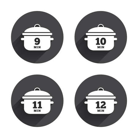9 11: Cooking pan icons. Boil 9, 10, 11 and 12 minutes signs. Stew food symbol. Circles buttons with long flat shadow. Vector
