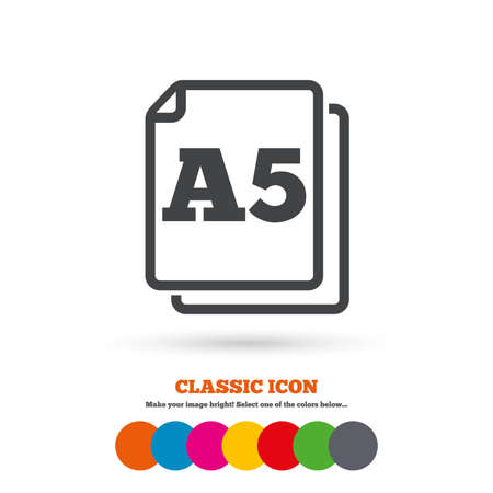 a5: Paper size A5 standard icon. File document symbol. Classic flat icon. Colored circles. Vector