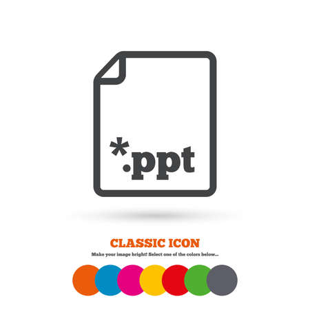 file extension: File presentation icon. Download PPT button. PPT file extension symbol. Classic flat icon. Colored circles. Vector