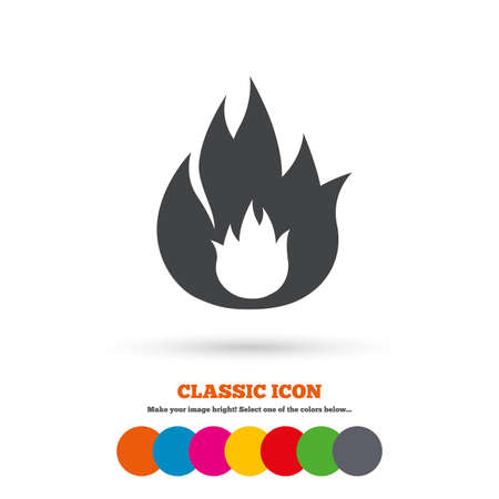 fire escape: Fire flame sign icon. Fire symbol. Stop fire. Escape from fire. Classic flat icon. Colored circles. Vector Illustration