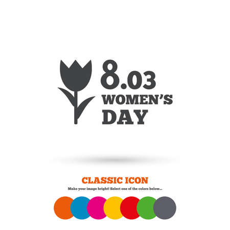 day sign: 8 March Womens Day sign icon. Flower symbol. Classic flat icon. Colored circles. Vector