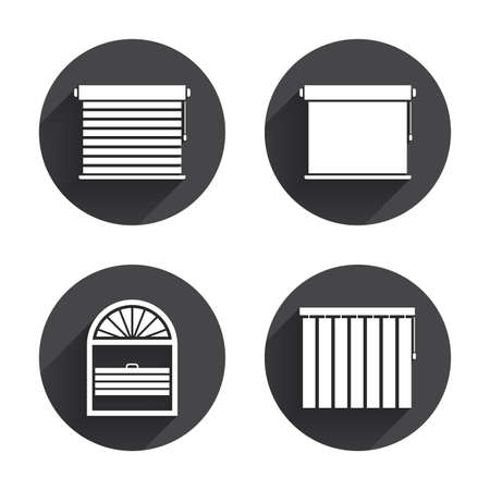 Louvers icons. Plisse, rolls, vertical and horizontal. Window blinds or jalousie symbols. Circles buttons with long flat shadow. Vector Illustration