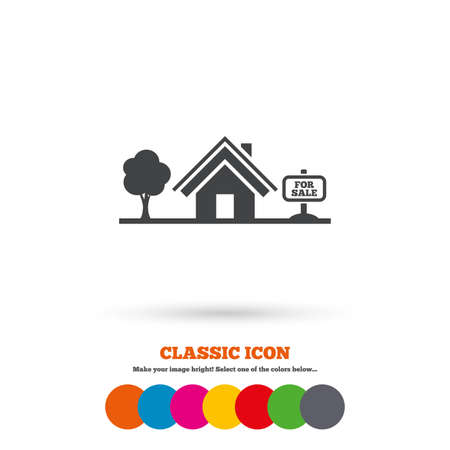 house for sale: Home sign icon. House for sale. Broker symbol. Classic flat icon. Colored circles. Vector Illustration
