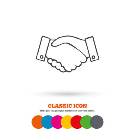 arms trade: Handshake sign icon. Successful business symbol. Classic flat icon. Colored circles. Vector