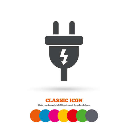 energy icon: Electric plug sign icon. Power energy symbol. Lightning sign. Classic flat icon. Colored circles. Vector