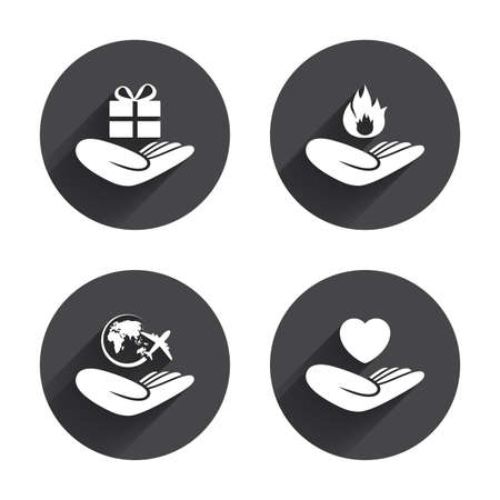 protection incendie: Helping hands icons. Health and travel trip insurance symbols. Gift present box sign. Fire protection. Circles buttons with long flat shadow. Vector