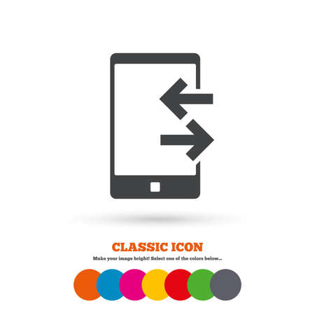 outcoming: Incoming and outcoming calls sign icon. Smartphone symbol. Classic flat icon. Colored circles. Vector Illustration