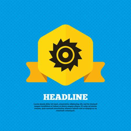 cutting blade: Saw circular wheel sign icon. Cutting blade symbol. Yellow label tag. Circles seamless pattern on back. Vector