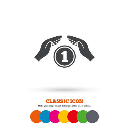 protection hands: Protection money sign icon. Hands protect coin symbol. Money or savings insurance. Classic flat icon. Colored circles. Vector