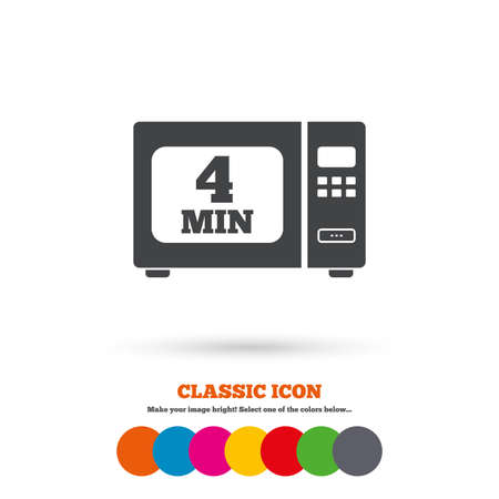 electric stove: Cook in microwave oven sign icon. Heat 4 minutes. Kitchen electric stove symbol. Classic flat icon. Colored circles. Vector Illustration