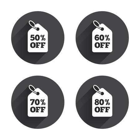 50 to 60: Sale price tag icons. Discount special offer symbols. 50%, 60%, 70% and 80% percent off signs. Circles buttons with long flat shadow. Vector