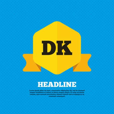 Denmark language sign icon. DK translation symbol. Yellow label tag. Circles seamless pattern on back. Vector