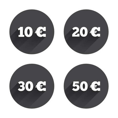 eur: Money in Euro icons. 10, 20, 30 and 50 EUR symbols. Money signs Circles buttons with long flat shadow. Vector