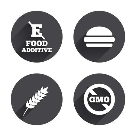 Food additive icon. Hamburger fast food sign. Gluten free and No GMO symbols. Without E acid stabilizers. Circles buttons with long flat shadow. Vector