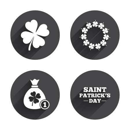 quatrefoil: Saint Patrick day icons. Money bag with coin and clover sign. Wreath of quatrefoil clovers. Symbol of good luck. Circles buttons with long flat shadow. Vector
