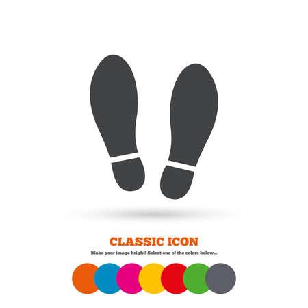 huellas pies: Zapatos de suelas Impresi�n firman icono. S�mbolo Impresi�n del zapato. Icono plana Classic. C�rculos coloreados. Vector